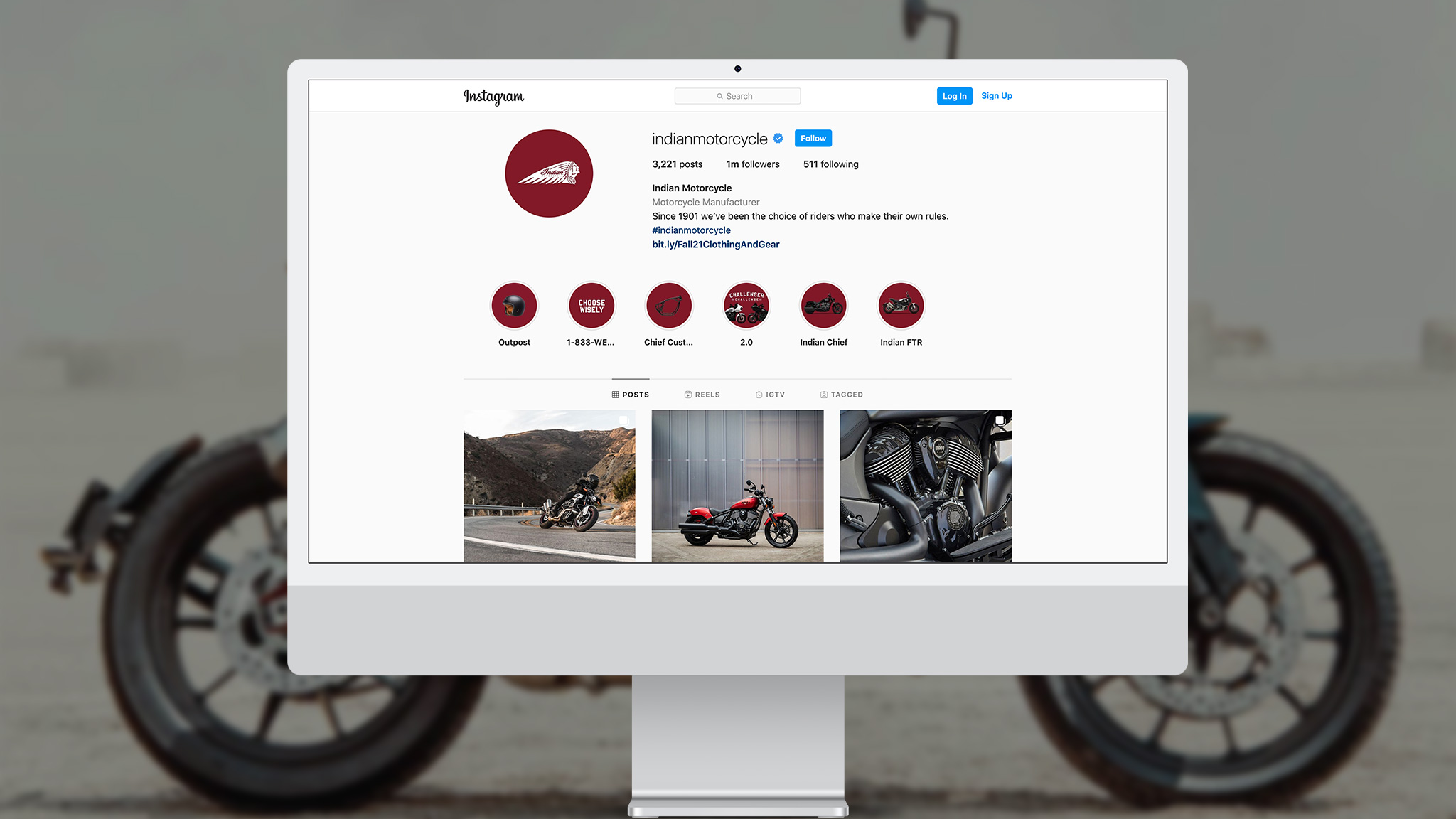 INDIAN MOTORCYCLE<BR>1 MILLION FOLLOWERS